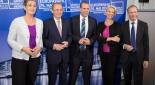 von links nach rechts: Ulrike Lunacek, Othmar Karas, Harald Vilimsky, Angelika Mlinar, Eugen Freund