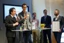 """Die Gewinner des Mercur '15 in der Kategorie """"IKT/Technik"""" im Gespräch mit Philipp Pertl"""
