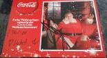 Autogrammkarte vom Coca-Cola Weihnachtsmann mit Unterschrift vom Coca-Cola Weihnachtsmann und Fußballstar David Alaba
