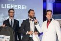 """Erster Platz in der Kategorie Dienstleistung, Gewerbe und Handel ist """"Die Lieferei GmbH"""", v.l.n.r. Constantin Simon, Hendrik Genotte, Philipp Pertl"""