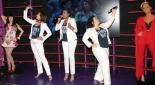 """Die Musical Hauptdarstellerinnen von Mamma Mia!, Ana Milva Gomes (""""Donna""""), Susa Meyer (""""Tanja"""") und Jacqueline Braun (""""Rosie"""")"""