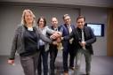 Topf Sucht Deckel 2016 - v.l.n.r. Brigitte Hammer (WKW Service), Mag. Petra Theimer (EPU-Service), Fredy Baumgartner (POOL-Kooperationsservice), Ing. Martin Heimhilcher (Spartenobmann Obmann-Stv.), Eventmoderator Philipp Pertl